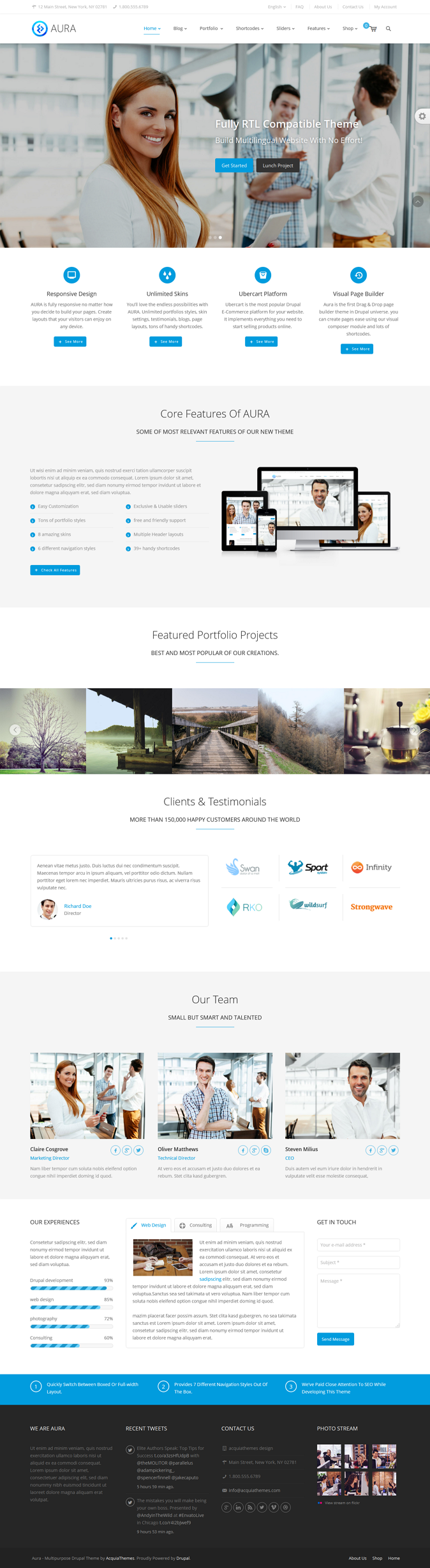 Aura is multipurpose responsive Drupal 7 theme with visual composer based on popular WordPress c ...