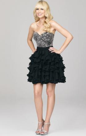 Black Chiffon A-line Strapless Cocktail Dress Online(LFNAC1432)|KissyDress UK