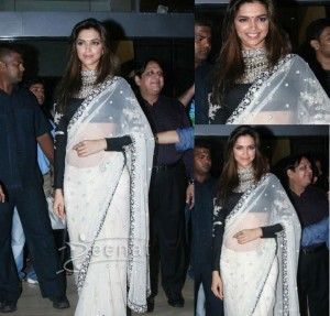 At a movie promotion of Aarakshan, the leggy beauty Deepika Padukone wore an ethereal white net ...