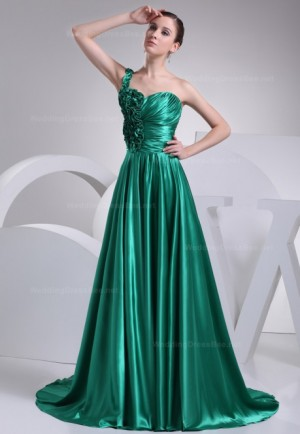 Elegant one shoulder pleated bodice full A-line dress – | WeddingDressBee