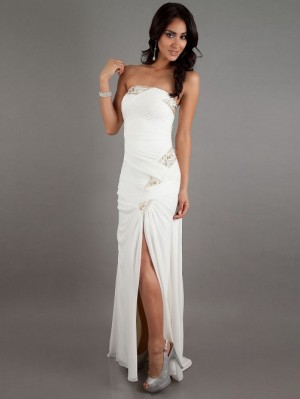 Fitted A-line Empire Strapless Ivory Long Ruched Side Slit Chiffon