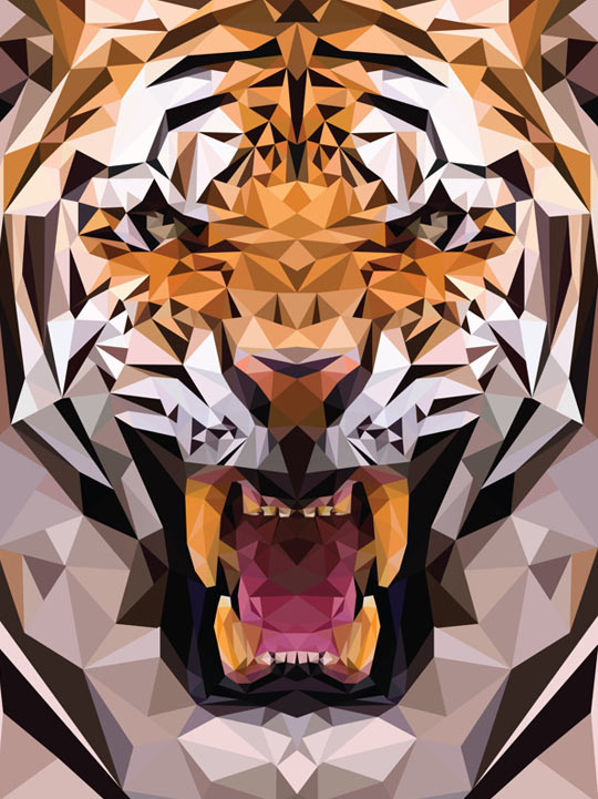 Geometric Tiger Made From Triangles – The Meta Picture