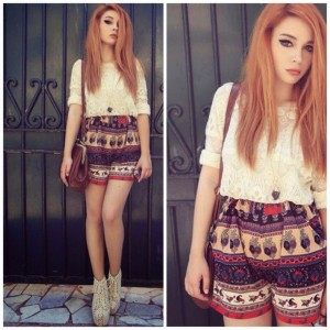 How to Chic: GET THE BLOGGERS LOOK – VINTAGE PRINTED SHORTS