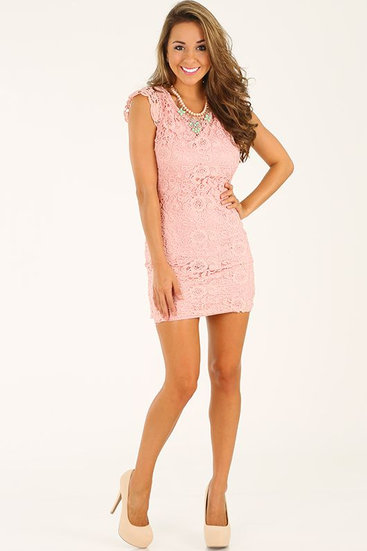 Lace To The Top Dress: Light Pink
