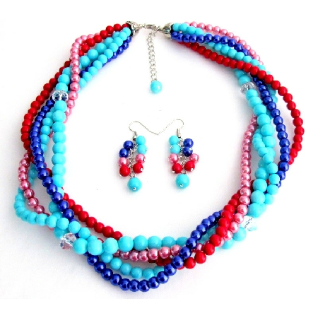 Summer Beach Multi Color Pearls Five Strand Braided Necklace With Dangling EarringsA stylish s ...