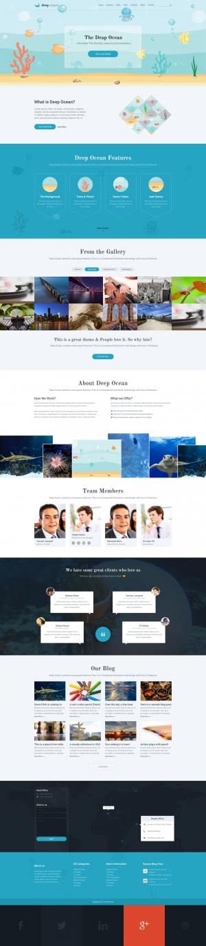 Deep Ocean Single Page Wp PSD TemplateDeep Ocean has a nice illustration on its slider and over ...