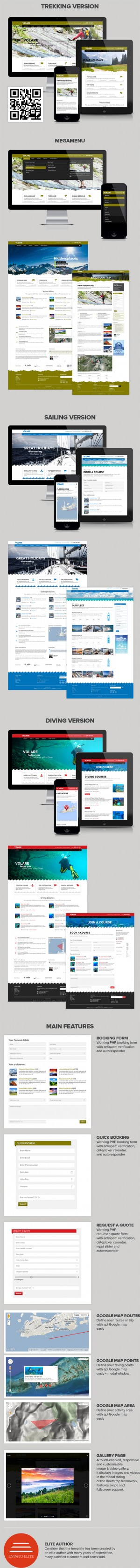 #webdesign #travel #Volare Trekking, Sailing, Diving Website Template ->