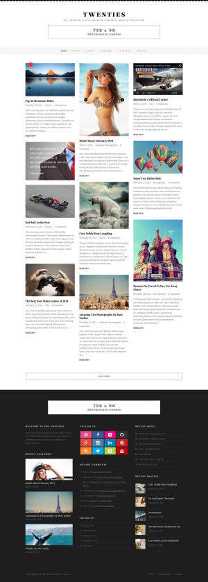 Elegant, glamorous and classic the Twenties is a responsive masonry blog that's just perfect for ...