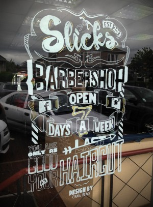 Slick's Barbershop Typographic Window Art
