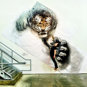 Animal Murals by Fiona Tang Appear to Leap from Gallery Walls