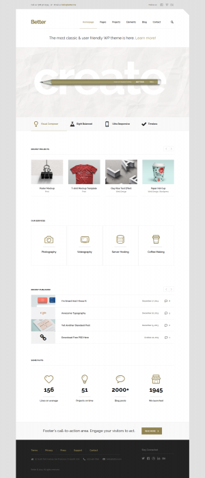 Better is a minimalistic & theme for your business! Characterized by pure simplicity, packed ...