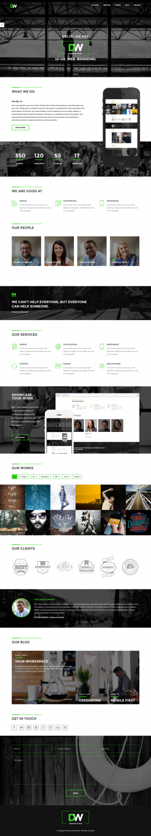 DW is a modern HTML5 theme for your agency, studio or design company. You can customize it very ...