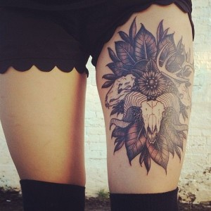 Cool Thigh Skull with Flowers Tattoo for Women | Tattoos for Women