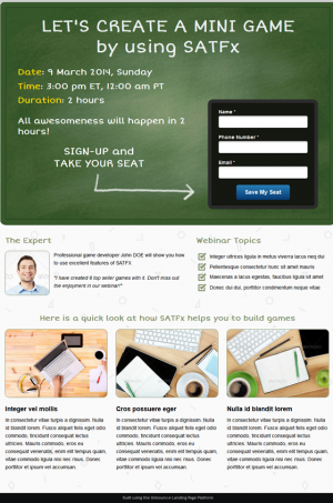 Webinar Board is a one page Unbounce template aiming the convertions on webinar sign ups. You ...
