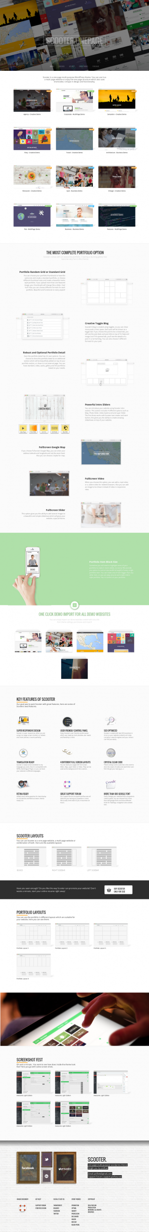 Scooter is a one page WordPress theme with truly multipurpose functionality. You can use it as a ...