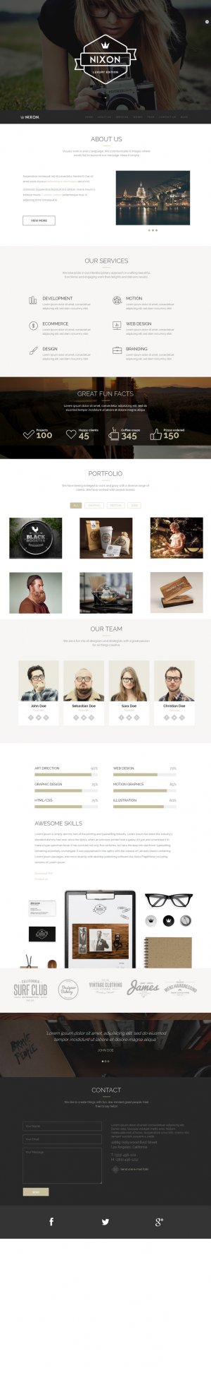 Nixon is the perfect one page parallax WordPress theme for corporate, agency, nonprofit, freelan ...