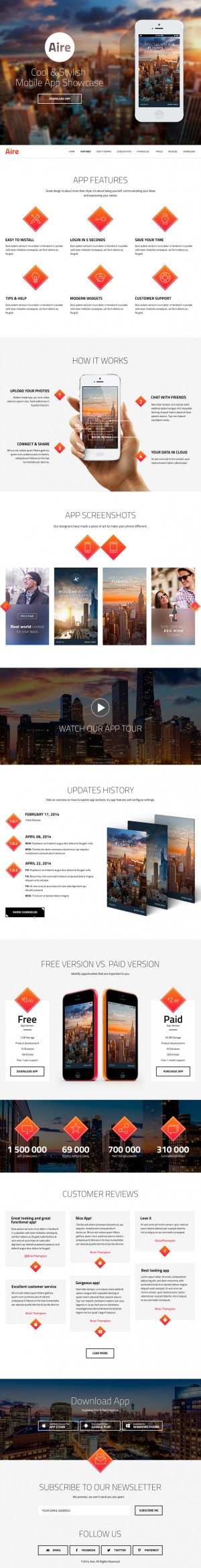 Aire is multipurpose landing page designed to showcase your mobile app, web application, new pro ...