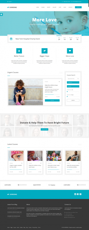 Gorising v1.0 is an HTML template is charity template with great looking, super clean design and ...