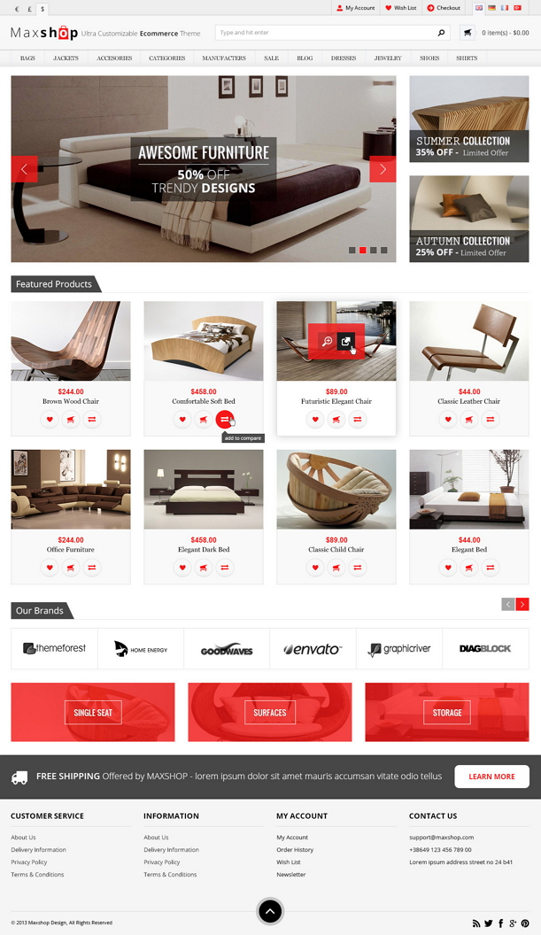 Maxshop is an WordPress eCommerce Theme is designed for apparel, clothes, shoes, cosmetic and mu ...