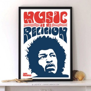 Music is my religionAn inspiring Music Quote by Jimi Hendrix by Lab No 4