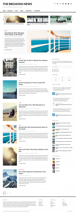 The Breaking News theme features a featured slideshow and editor's choice section for showcasing ...