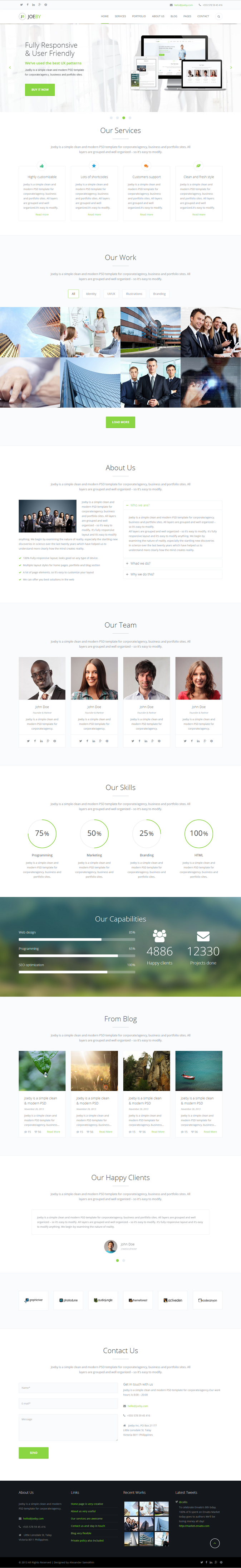 JoeBy is a fully responsive flexible and sleek HTML template for corporate/agency, Business and ...