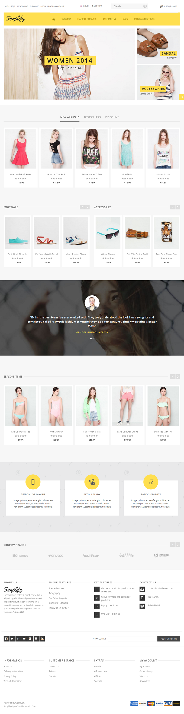 Simplify is a perfect blend of beauty and commercial perspective OpenCart theme. The sleek CSS3 ...