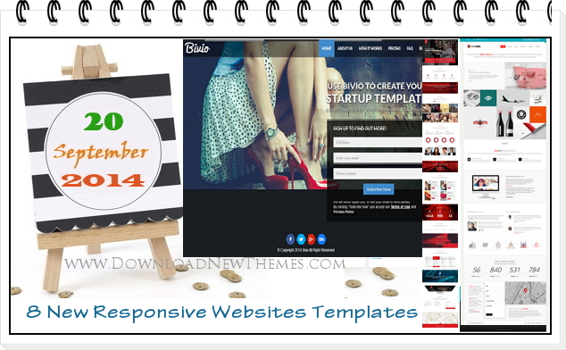 8 New Responsive Websites Templates of 20th Sep 2014