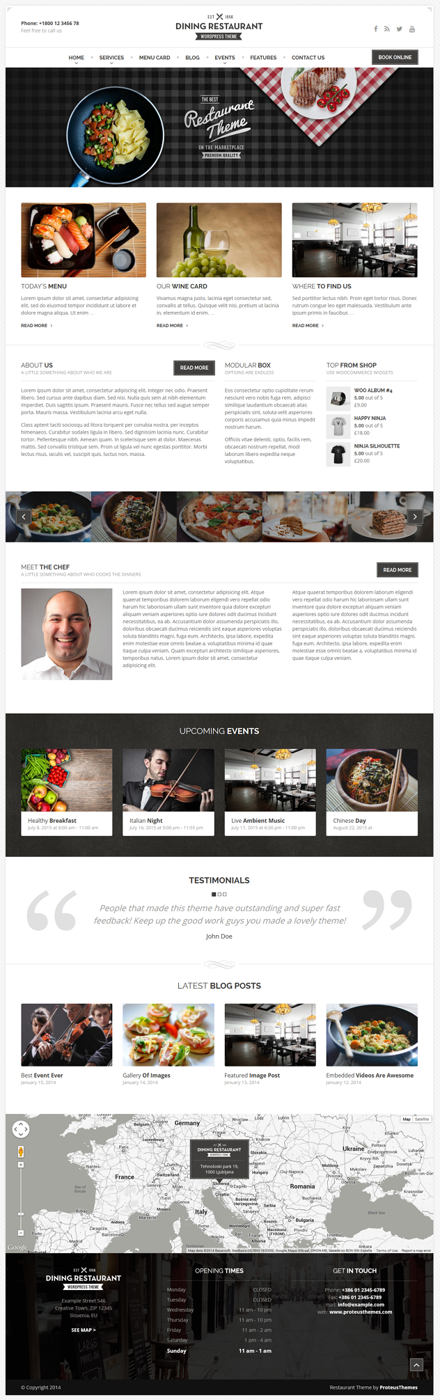 Dining Restaurant is a premium WordPress Theme for any kind of restaurant, chefs and similar bus ...