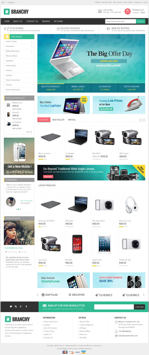 Branchy Magento Responsive Theme is designed for electronics, mobile, computer and multipurpose ...