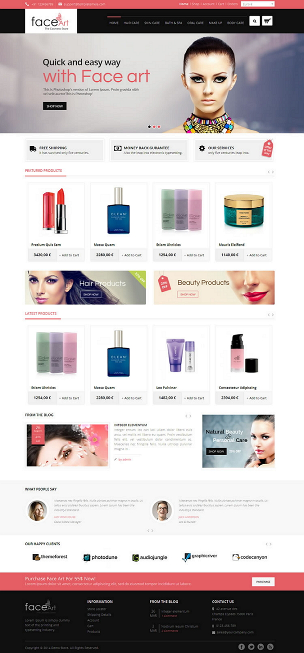 Face Art VirtueMart Responsive Theme is specially designed for beauty, cosmetic, women and fashi ...