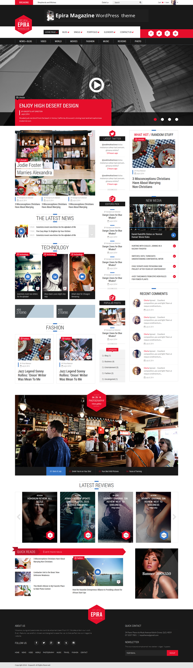 Epira Magazine HTML5 template is suitable for magazine website, or you can twist this template f ...