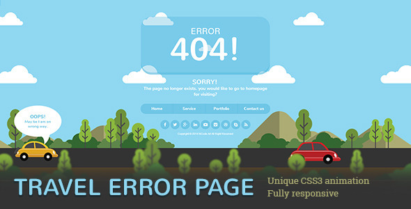 Travel Error Page is 404 Error Page. Travel Error Page Build on simple and easily to customize s ...