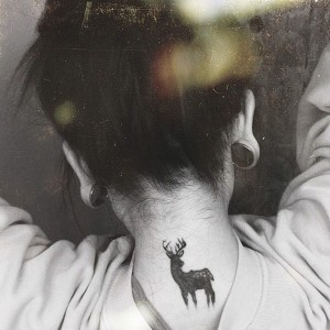 Deer Tattoo on Neck