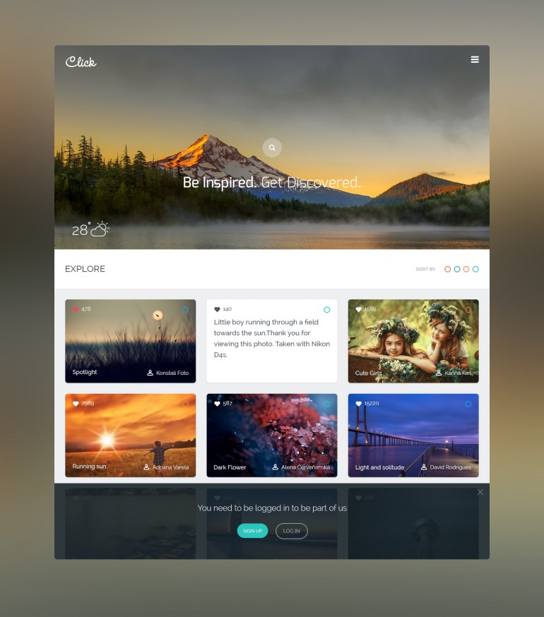 "Floks, After long time coming with some Refreshing UI , ""Click"" a Photographer commu ..."