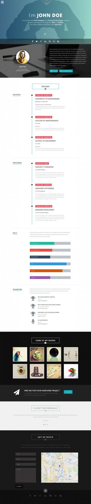 Intima is a minimalist, elegant and responsive resume HTML5 template for any kind of professiona ...