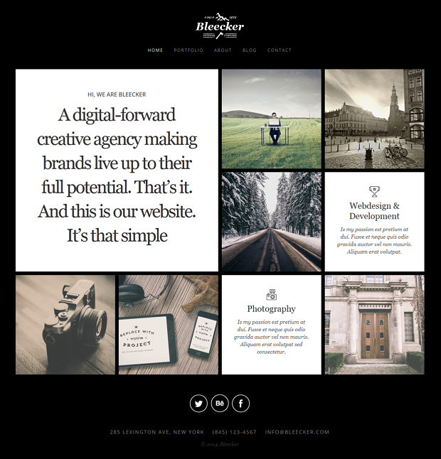 Bleecker is a responsive and retina-ready WordPress website with grid system layout. Mobile Touc ...