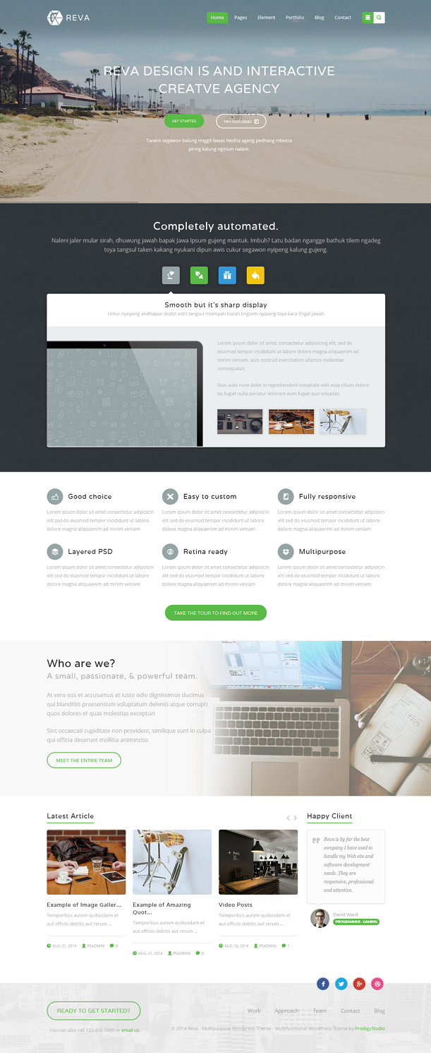Reva WordPress template, is a new unique, clean, flexible and suitable for any website purpose f ...