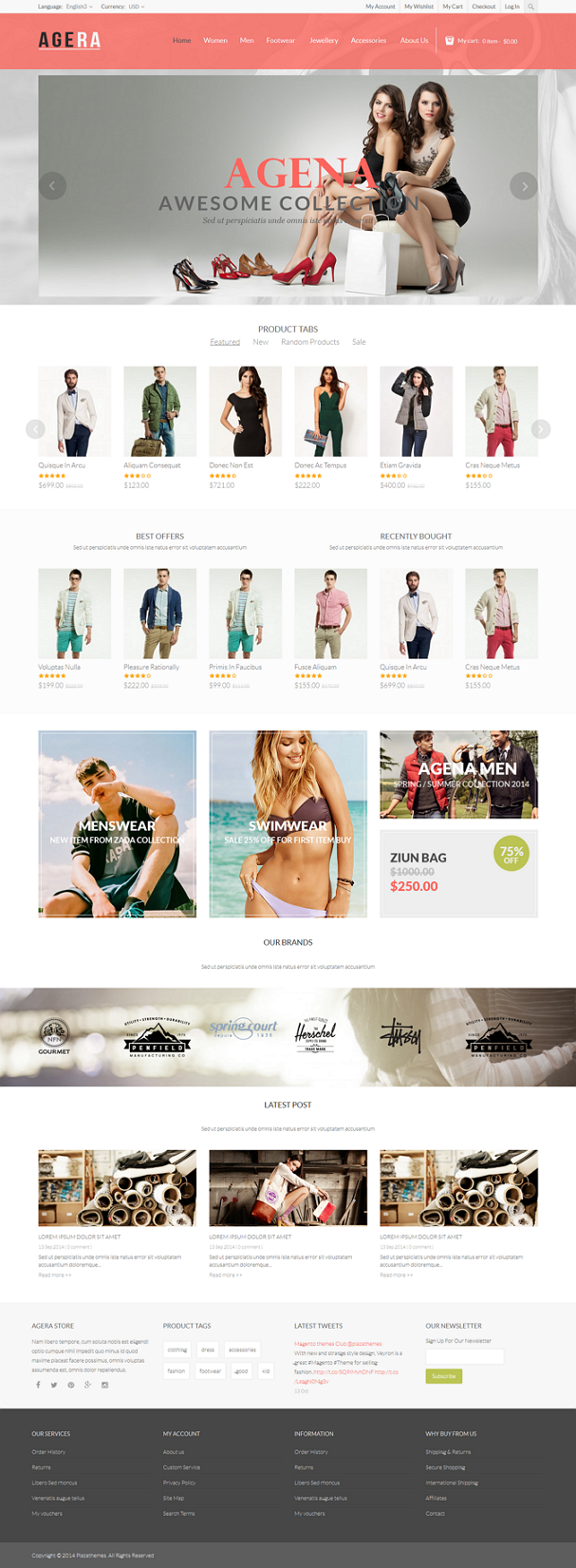 Agera is a Magento ready theme suitable for every type of store : fashion store, clothing store, ...