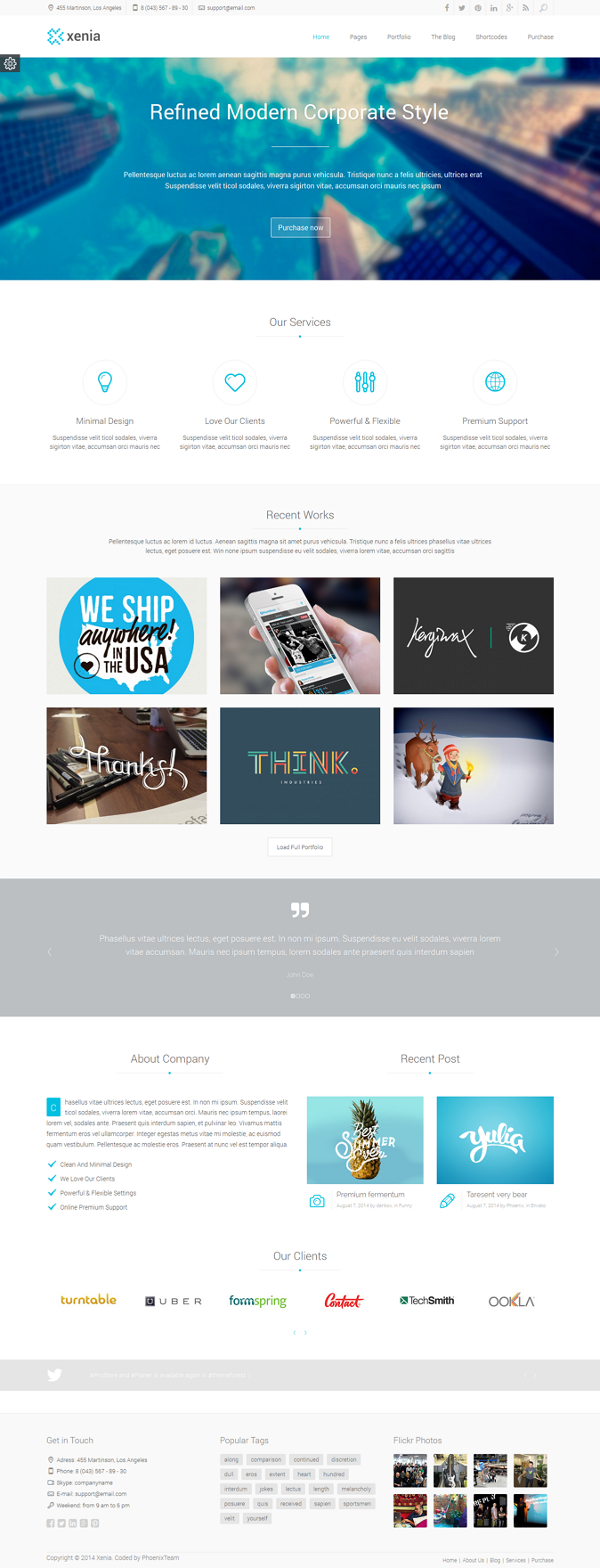 Powerful WordPress theme designed in a clean and minimalistic style. This theme can be used for ...