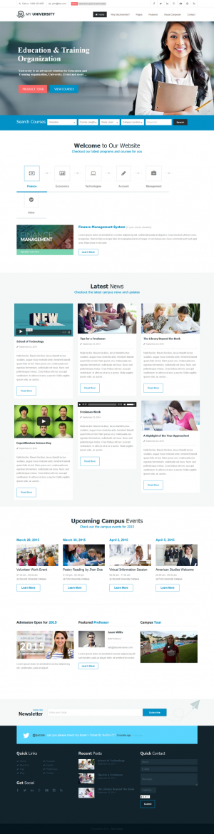 MyUniversity is a powerful responsive Education, College, University, School premium WordPress t ...