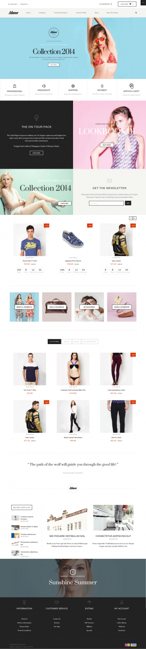 Maven combines a series of beautiful design elements into an entirely new fashion OpenCart templ ...