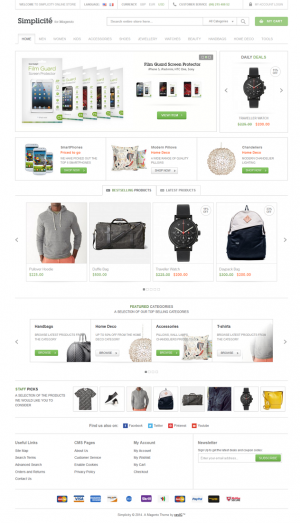 Simplicité Responsive Magento Theme can be used for any kind of Magento online store. It is pack ...