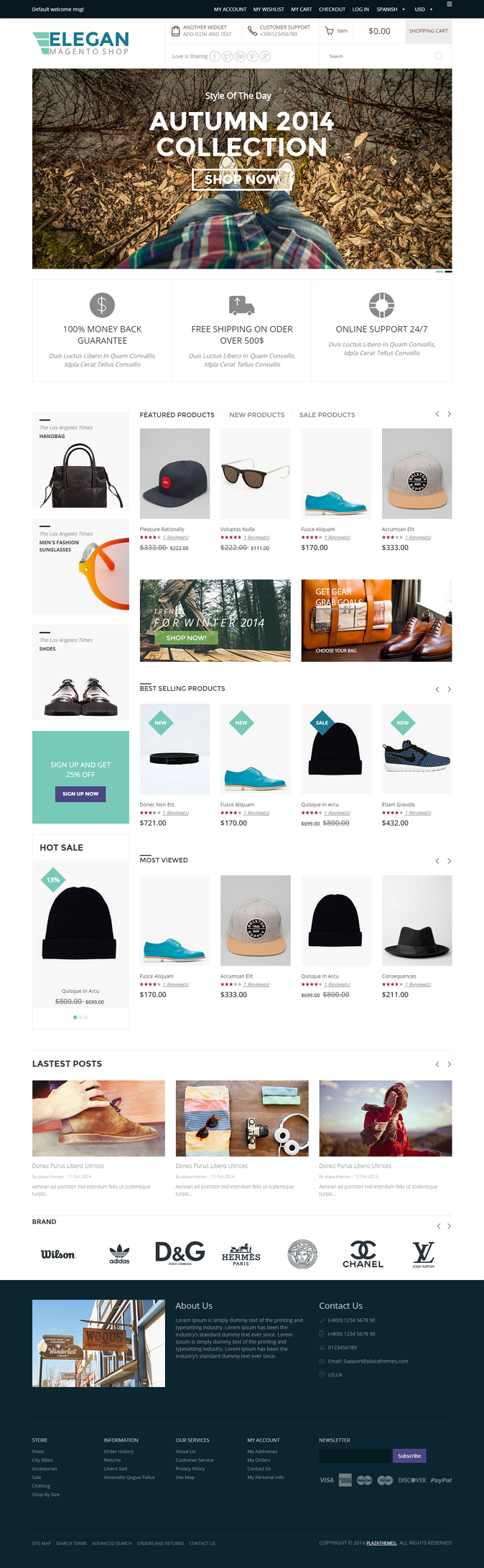 This magento theme is a nice design for fashion store, high fashion store, hats shop, shoes shop ...