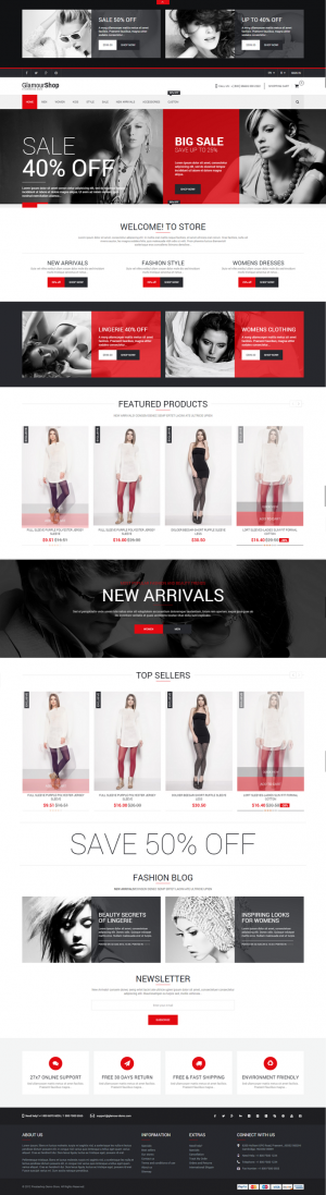 GlamourShop! is an Premium & Responsive Prestashop Theme can be use for any eCommerce store, ...