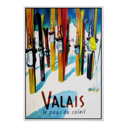 Valais – The country of the sun ski travel poster Print   Zazzle