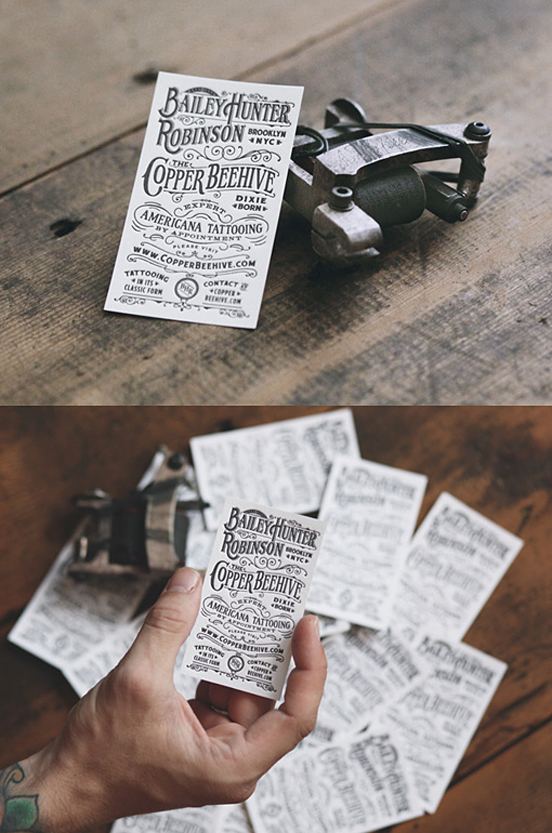 Americana Tattooing Letterpress | Business Cards