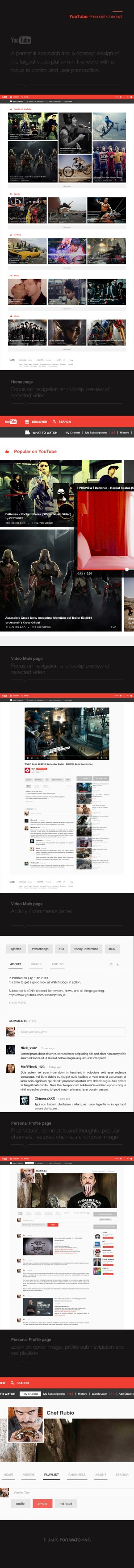 YouTube Redesign Concept :: A personal approach and a concept design of the largest video platfo ...