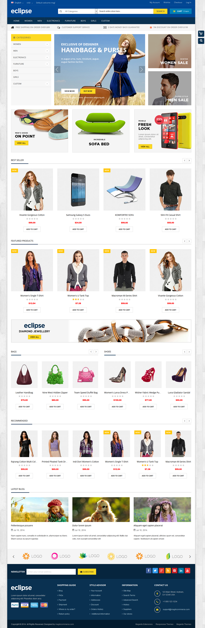 Eclipse is a responsive multipurpose Magento theme which is fully customizable and suitable for ...