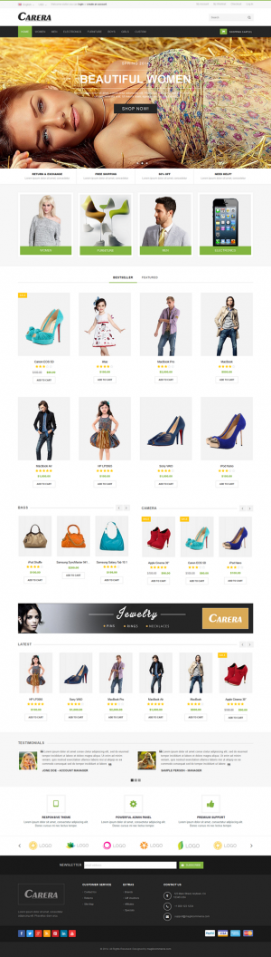 Carera is a responsive OpenCart theme which is fully customizable and suitable for any kind of O ...